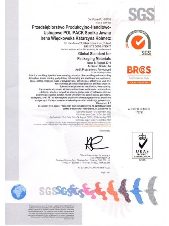 Certyfikat BRC Global Standard for Packaging and Packaging Materials, wydanie 6